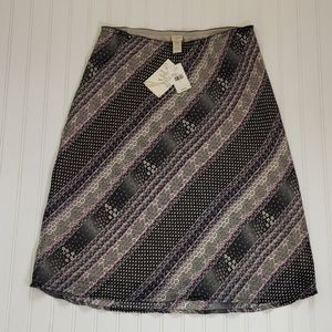 J Jill pink/black/cream midi skirt sz L - NWT
